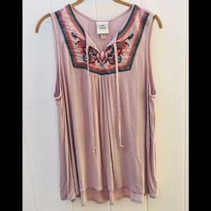 Pink Rose XXL sleeveless top pink color